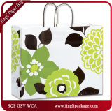 Bold Flower Shoppers Design personnalisé imprimé Shopping sac de papier kraft