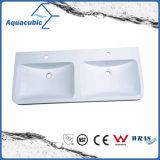 Bacia branca moderna de Polymarble do banheiro