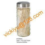 vaso di vetro dell'arachide 4L con la protezione del metallo, vasi di vetro rotondi di memoria dell'alimento