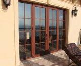 호화스러운 고품질 목제 곡물 색깔 열 틈 알루미늄 여닫이 창 유리제 문 (ACD-027)