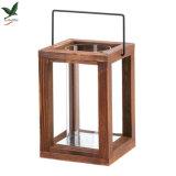 Lanterna de madeira da vela do jardim rústico de 9 polegadas