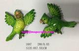 Polyresin Karikatur-grüner oder roter Papageien-Kühlraum Manget