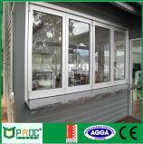 Ventana plegable de aluminio del precio de fábrica con el vidrio Tempered