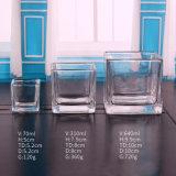 De ronde en Vierkante Transparante Kruik van de Kaars van het Glas
