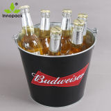 Ronda personalizada impresa galvanizado 5qt Bar de hielo Refrigerador de la cerveza de la cuchara de metal con asa y el abridor
