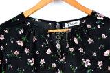 Blusa larga de la funda de la blusa de la parte posterior del cuello del bordado del diseño de las mujeres de moda de la ropa