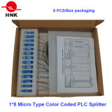 2: Tipo micro cifrado 32 colores divisor óptico del PLC de fibra