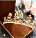 El barroco de la novia Retro diamantes Tiara Handmade Corona biselado Cristal Joyas de boda Crown (EC01).