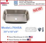 Singolo lavabo del dispersore di cucina dell'acciaio inossidabile della ciotola di Undermount (7645A)