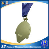 Arti e mestieri medaglie su ordinazione di sport di gioco del calcio e del metallo con il nastro blu
