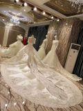 Vestido de casamento do vestido de esfera do cetim do laço do luxo 2017