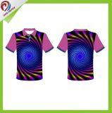 T-shirt unisexe de polo d'impression de sublimation personnalisé par vêtements de sport faits sur commande libres de Dreamfox
