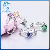 De goedkope Zilveren Ring van de Manier van het Zirkoon van de Prijs In het groot Kleurrijke