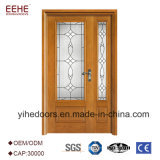 Entrée du bois de porte de bâti de belle entrée en verre en bois