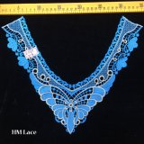 35*28cm Blau Buttterfly Blume gestrickte Muffen-Spitze, weiße königliche Nekline Spitze für Bankett-Kleid Hme969