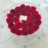 Cadre acrylique rond de fleur d'étalage transparent clair de 21 Rose avec des couvercles
