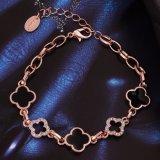 L'or de Rose de mode a plaqué le bijou de bracelet de trèfle de quatre lames