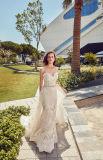 Amelie 2018 roccioso con il vestito da cerimonia nuziale elegante del merletto della sirena del treno