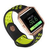 Correa de reloj del caucho de silicón para la venda de reloj del resplandor de Fitbit con el marco del metal