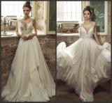 Sleeveless Brautkleider A - Zeile Chiffon- Spitze-Strand-Garten-Hochzeits-Kleid Lb18713