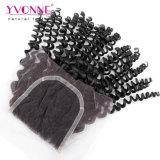 Arricciatura crespa dei capelli del Virgin dell'essere umano del commercio all'ingrosso 100% di Yvonne della parte superiore della chiusura brasiliana del merletto