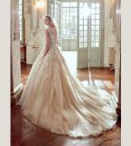 Vestido nupcial quente de vestido de casamento de Champagne do laço da venda