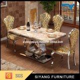 Tabella pranzante dell'oro di marmo stabilito della Tabella della sala da pranzo della mobilia della cucina