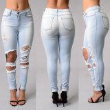 Das calças de brim novas das mulheres da sarja de Nimes do projeto de Jean das mulheres calças de brim magros do ajuste