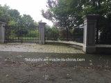 Pilastro grigio del granito con la pietra della parete e protezione per il cancello/entrata