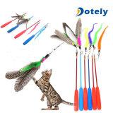 El gato juega la varita con el colector del bromista de la pluma para el gato y el gatito