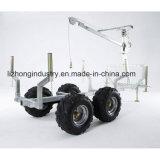 ATVの木製のトレーラー、クレーンが付いている材木のトレーラー、ログのローダーのトレーラー、クレーンが付いているログのトレーラー