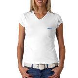 T-shirt blanc de promotion de chemise bon marché en gros de circuit pour les femmes (ELTWTJ-359)
