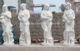 Garten vier Jahreszeit-Dame Sculpture im reinen weißen Marmor