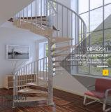 Белый углеродистой стали для использования внутри помещений орехового дерева лестницы