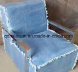 寒帯のヨーロッパの家具の居間のソファーの椅子の標準的なデニムの独身者のソファーのステンレス鋼の布の芸術のソファーのArmrest (M-X3506)