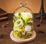 永遠の結婚式はガラスドームのフラワーアレンジメントローズを維持した