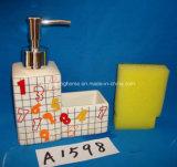 Un insieme dell'accessorio (di ceramica) della stanza da bagno della dolomia 4 con l'imballaggio del contenitore di regalo