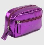 تصميم جديد أنيق مستطيلة نساء مستحضر تجميل حقيبة يد بنية كيس حقيبة
