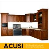 Americano por atacado L gabinetes de cozinha da madeira contínua do estilo (ACS2-W18)