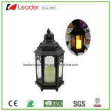 Negro Linterna decorativa con luz LED Vela para el hogar y decoración al aire libre