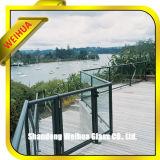 Los paneles, particiones del balcón, pasamano y barandilla de cristal al aire libre