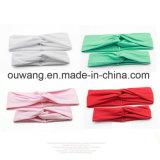 女性のための熱い販売の綿のターバンのねじれの結び目の十字固体Hairbands