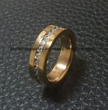 Het Roestvrij staal van de Juwelen van de manier nam de Gouden Ring toe van CZ (CZR2519)