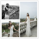 Reizvoller V-Stutzen Kurzschluss Sleeves Nixe-Hochzeits-Kleid (Dream-100108)