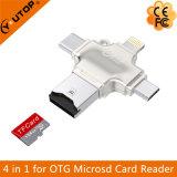 iPhone 번개 + 유형 C+Micro USB +USB (YT-R010)를 위한 1명의 금속 OTG Microsd 카드 판독기에 대하여 4