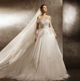 Шикарно линия платье венчания с регулируемой длиной поезда