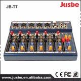 USBが付いている7つのチャネルDJ音楽ミキサーの可聴周波ビデオミキサー
