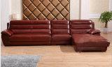 Sofá del cuero de la esquina de la combinación de la sala de estar del color de Brown (HX-SN030)