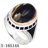 Anello di pietra dell'uomo del Yemen della CZ di modo 925 degli anelli d'argento degli uomini