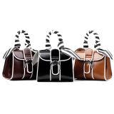 Горячие продукты из натуральной кожи женская сумка руки женщины сумку с шарфом шаблон полосы Satchel очарование форму сумки Emg4920 так